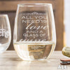 Etched Stemless White Wine Glasses - Design: ALL