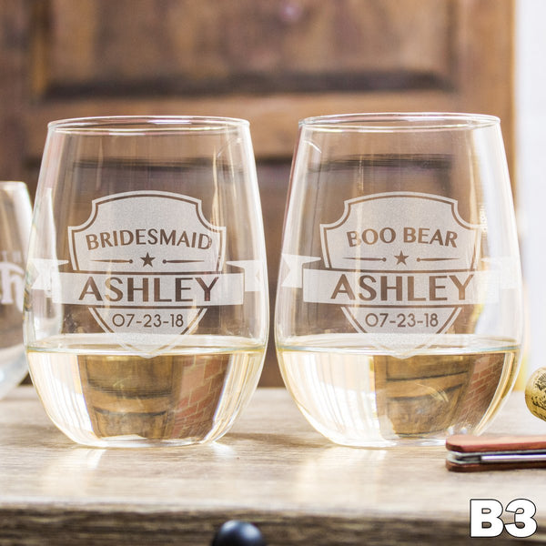 Personalized Stemless White Wine Glass - 12 Designs