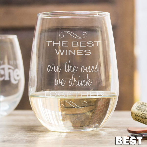Etched Stemless White Wine Glasses - Design: Best Wines
