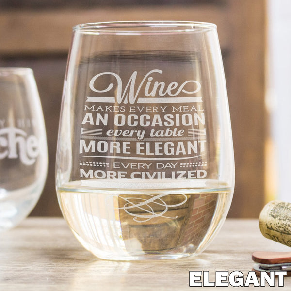 Etched Stemless White Wine Glasses - Design: ELEGANT