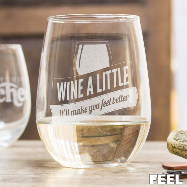 Etched Stemless White Wine Glasses - Design: FEEL