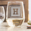 Etched Stemless White Wine Glasses - Design: INITIAL1