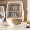 Etched Stemless White Wine Glasses - Design: INITIAL2