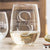 Etched Stemless White Wine Glasses - Design: K3 Monogram