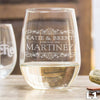 Etched Stemless White Wine Glasses - Design: L1 Couples