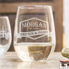 Etched Stemless White Wine Glasses - Design: L3