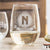 Etched Stemless White Wine Glasses - Design: M1 Monogram