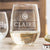 Etched Stemless White Wine Glasses - Design: M2 Monogram