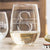 Etched Stemless White Wine Glasses - Design: M3 Monogram