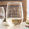 Etched Stemless White Wine Glasses - Design: N1 Couples