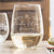 Etched Stemless White Wine Glasses Couples - Design: N1