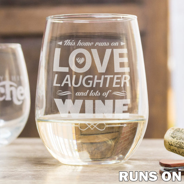 Etched Stemless White Wine Glasses - Design: Runs On Wine