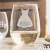 Etched Stemless White Wine Glasses Bridesmaid Dress - Design: WG3