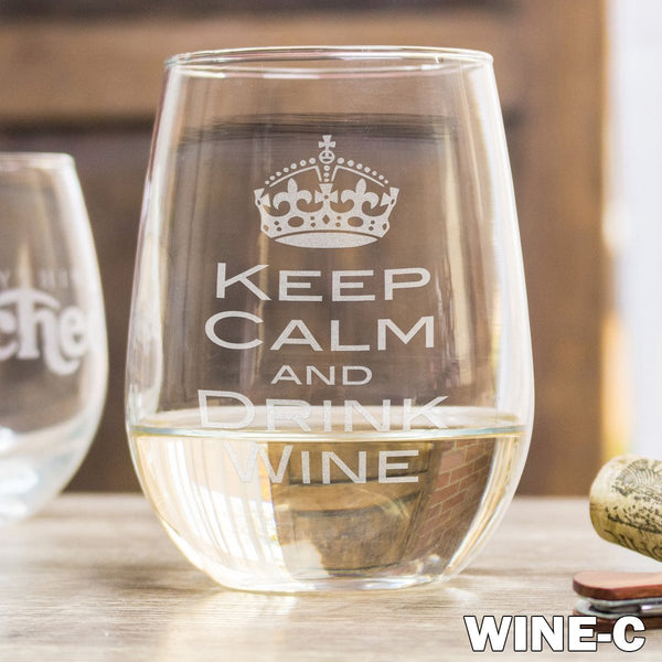 Stemless White Wine Glass - Design: Wine w/Crown