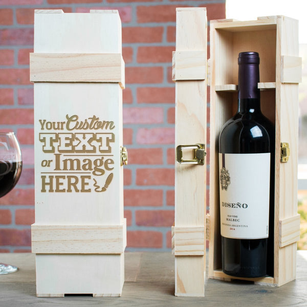 Personalized wine bottle box is customized with your logo, monogram, text, or image.