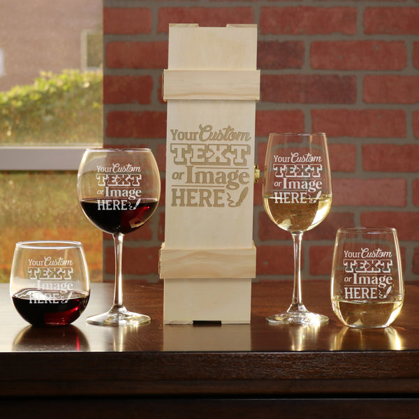 Personalized wine gifts set is customized with your logo, monogram, image, or text.