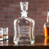 Engraved whiskey decanter is customized with your logo, monogram, image, or text.