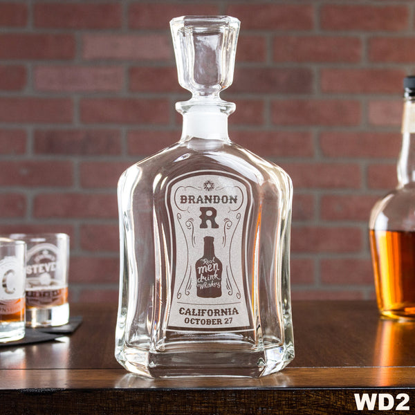 Engraved Whiskey Decanter - Design: WD2 Personalized