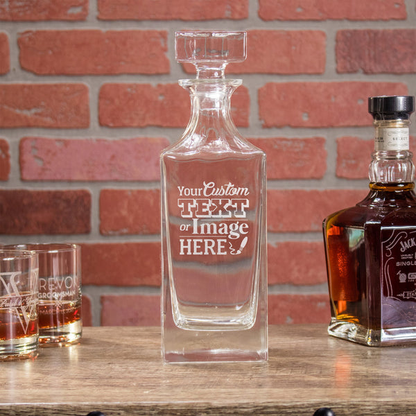 Etched Whiskey Decanter, Square - Design: CUSTOM