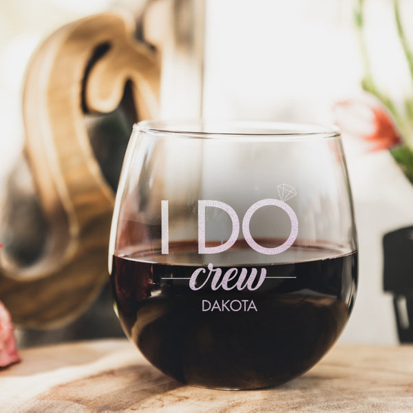 I Do Crew Etched Stemless Red Wine Glasses - Design: WG6