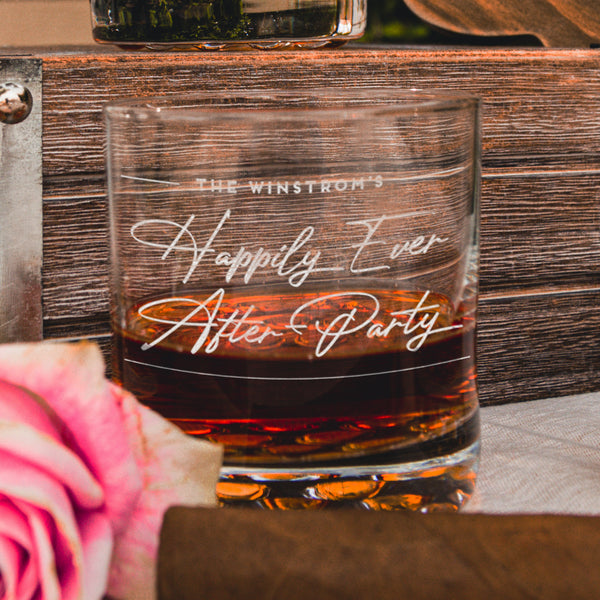 Wedding Party Reception Whiskey Glasses - Design: WG7