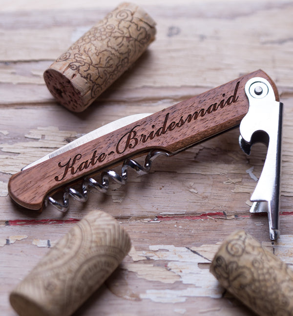 Personalized wine opener corkscrew is customized with your logo or monogram.