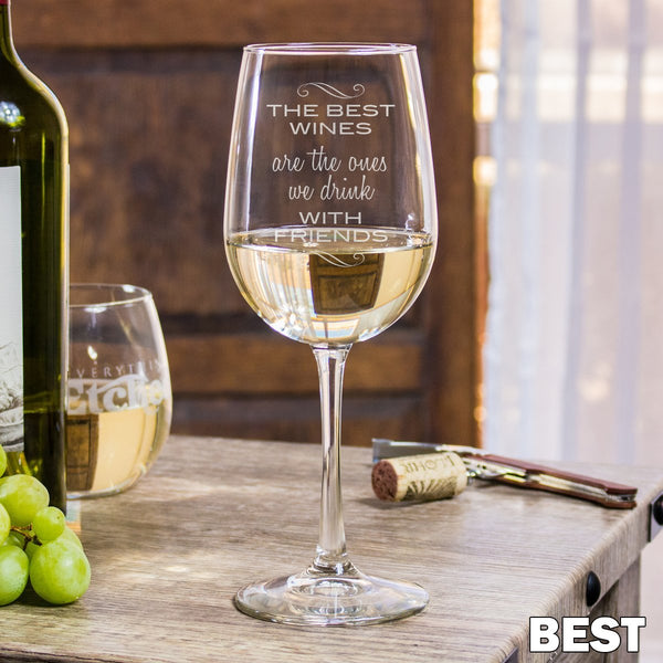 Etched White Wine Glasses - Design: Best Friends