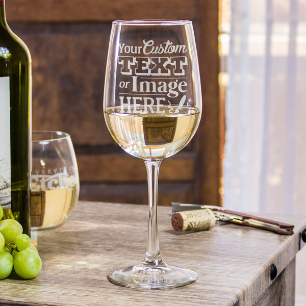 Etched white wine glasses personalized for your event at Everything Etched