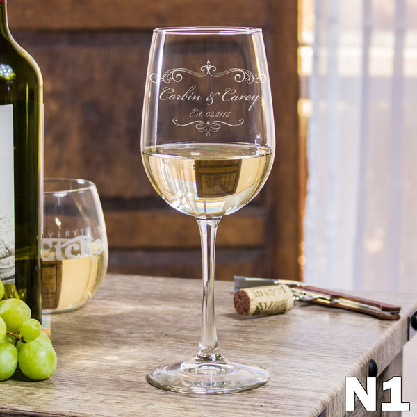 Etched White Wine Glasses - Design: N1 Couples