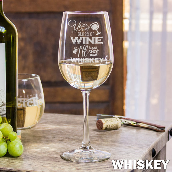 Etched White Wine Glasses - Design: Shot of Whiskey