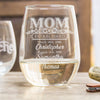 Mom Established Etched Stemless White Wine Glasses - Design: MOMEST
