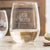 Etched Stemless White Wine Glasses Couples - Design: N2