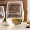 Etched Stemless White Wine Glasses Quarantine Essential - Design: COV6