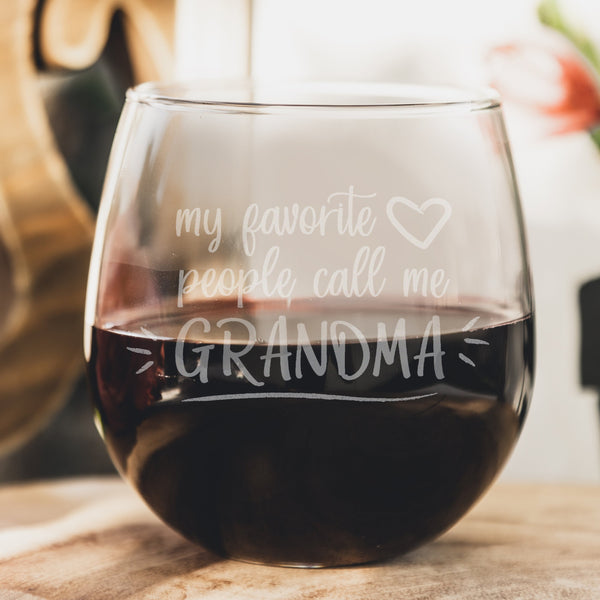 Personalized Stemless Red Wine Glass Mother's Day for Grandma - Design: MD8
