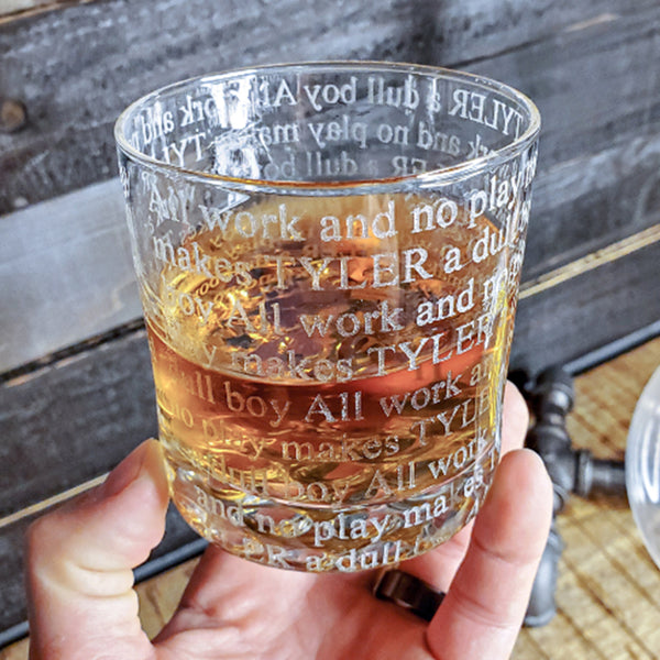 Engraved Whiskey Glasses All Work & No Play - Design: ALLWORK