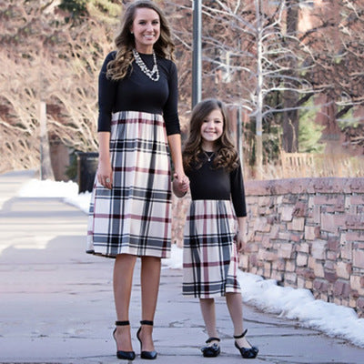 Matching Plaid Long Sleeve Knee-length Dress - dresslikemommy.com