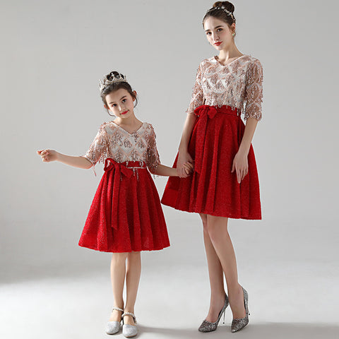 High-end Matching Princess Evening Dress - dresslikemommy.com