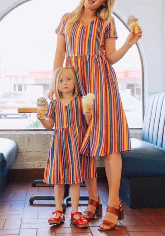 Mommy & Me Matching Rainbow Stripe Dress - dresslikemommy.com