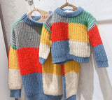 Matching Colorful Lattice Knit Pullover Sweater - dresslikemommy.com