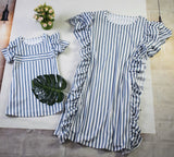 Matching Striped Ruffled Mid-Skirt Dress - dresslikemommy.com