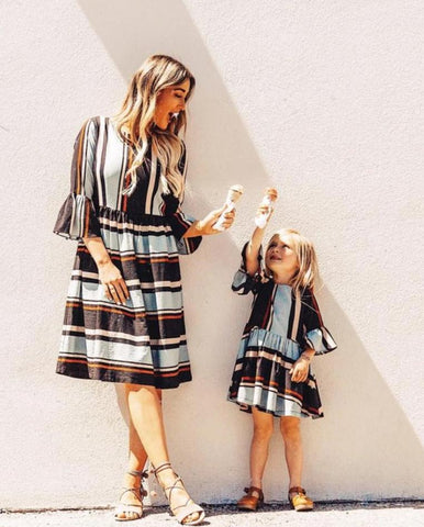 Cute Mother Daughter Matching Stripe Dress - dresslikemommy.com