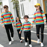 Family Matching Rainbow Striped Sweater - dresslikemommy.com