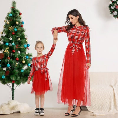 Mommy & Me Matching Red Plaid Long Dress - dresslikemommy.com