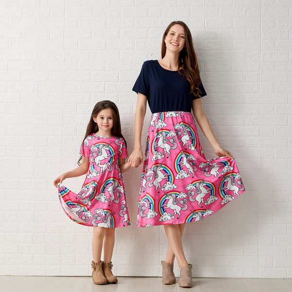Matching Mother Daughter Rainbow Pony Dress - dresslikemommy.com