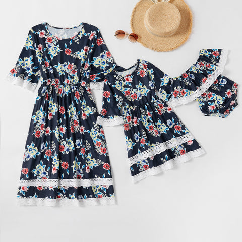 Mommy & Me Matching Floral Lace Dress - dresslikemommy.com