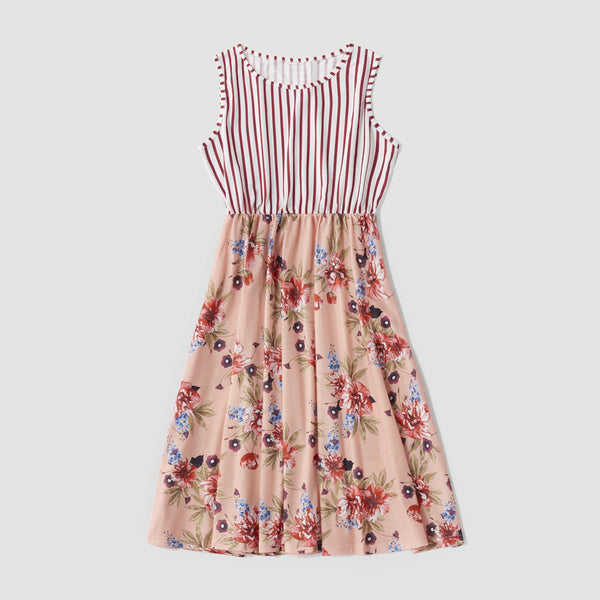 Mommy & Me Stitching Flowers Stripes Bow Dress - dresslikemommy.com