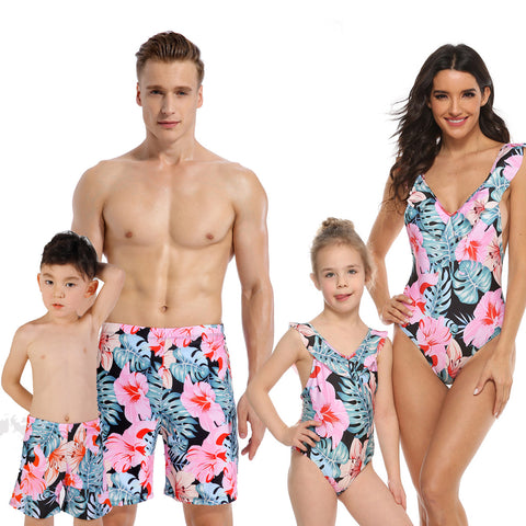 Family Matching Tropical Leaf Swimsuits - dresslikemommy.com