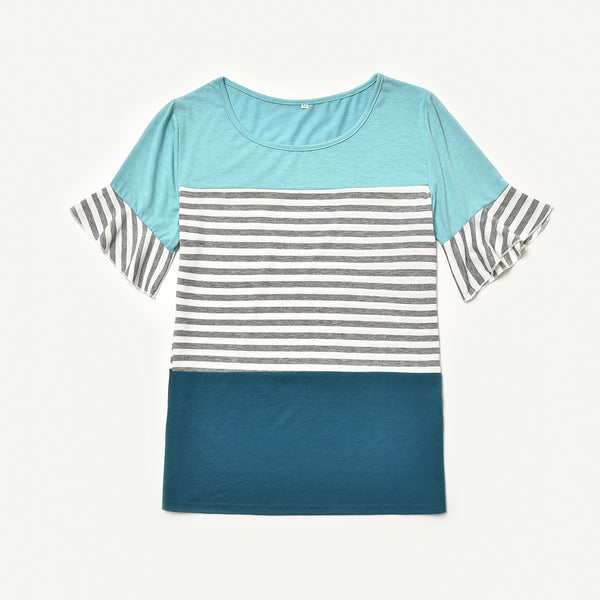 Matching Striped Patchwork Flare Sleeve T-shirts - dresslikemommy.com