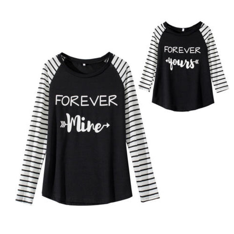 Mother and Daughter Matching T-Shirt Long Sleeve Stripe - dresslikemommy.com