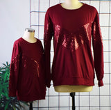 Mommy & Me Matching Sequin Stitching Long-Sleeve Top - dresslikemommy.com